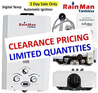 Rain Man L6 Tankless Water Heater LPG Liquid Propane 2.0 GPM Digital Temperature