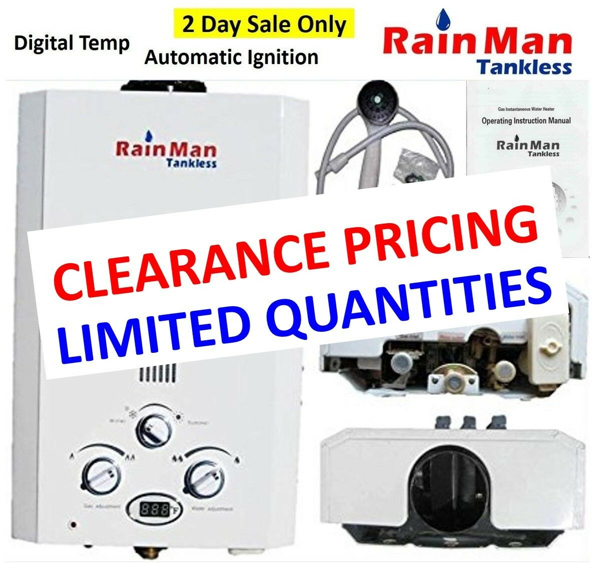 Rain Man L6 Tankless Water Heater LPG Liquid Propane 2.0 GPM