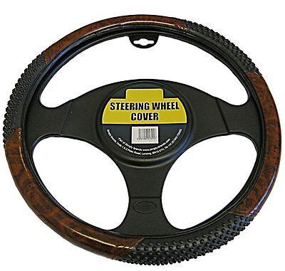 Car Steering Wheel Cover Grip Glove Black & Wood Look Effect Universal Fit