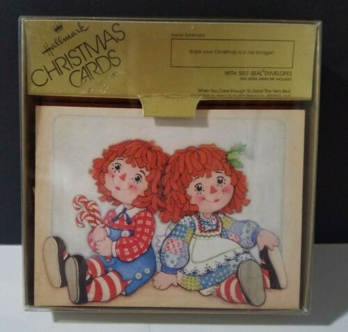 Vintage Hallmark ~ RAGGEDY ANN and ANDY ~ Box of 25 Christmas Cards ~ NOS! Look!
