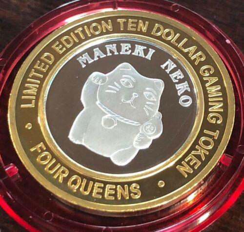 Four Queens Hotel Casino $10 Silver Strike 2005 Maneki Neko Cat Red Cap Ltd 500