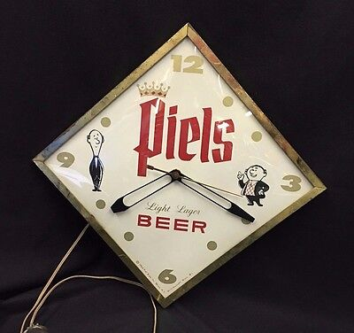 "Vintage Rare Piels Light Beer Lager Clock New York Bar Pub Man Cave 13""x13"""