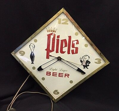 Vintage Piels Light Beer Lager Clock New York Bubble Glass Pam Style Advertising