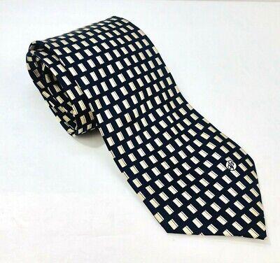 Versace Classic V2 Handmade Luxury Tie Necktie 100% Silk Navy Blue & Gold Italy