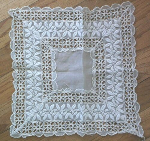 """Vtg EMBROIDERED  TABLE DOILY Lace EYELET  ORGANDY Doilie  11"""" x 11"""" Ecru"""