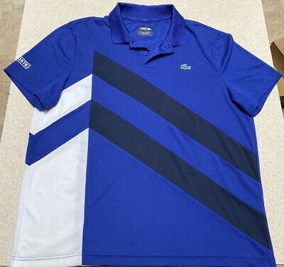 Lacoste Sport Striped Croc Logo Short Sleeve Polo Shirt Men's Size (FR7) 2XL