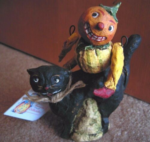 Debbie Thibault Pumpkin Man Sitting on Black Cat