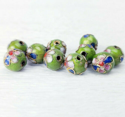 Avocado Green w Pink Flowers Cloisonne Chinese Enamel Round 9mm 10PCs