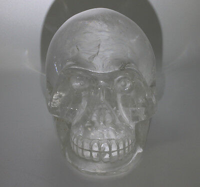 LARGE Hand Carved Crystal Skull Natural Quartz Detailed 2.9 lbs Rainbow Colors