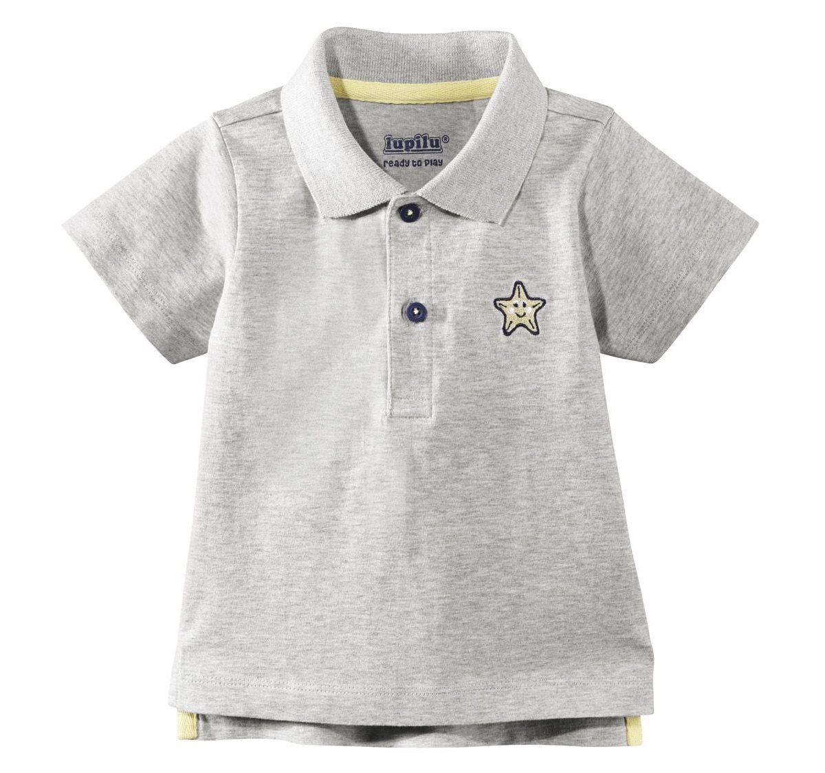 Lupilu Jungen Baby Poloshirt Grau Stern - Gr. 86/92