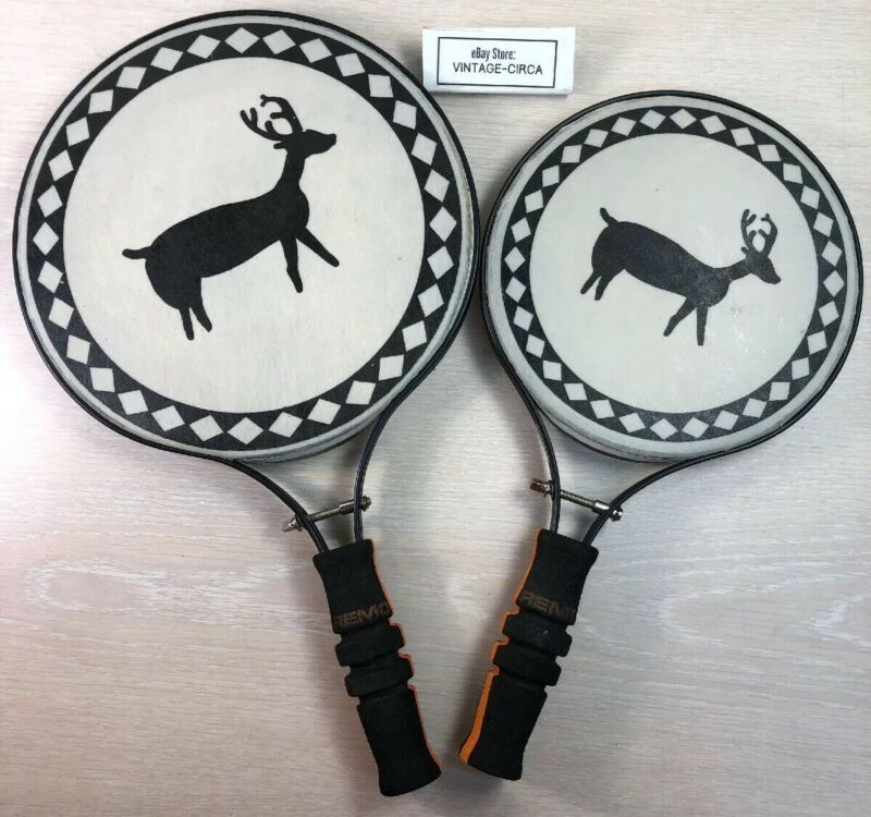 "*RARE* Elk Design REMO Percussion Arts Musical Paddle Drums (Set of 2)  8"", 10"""
