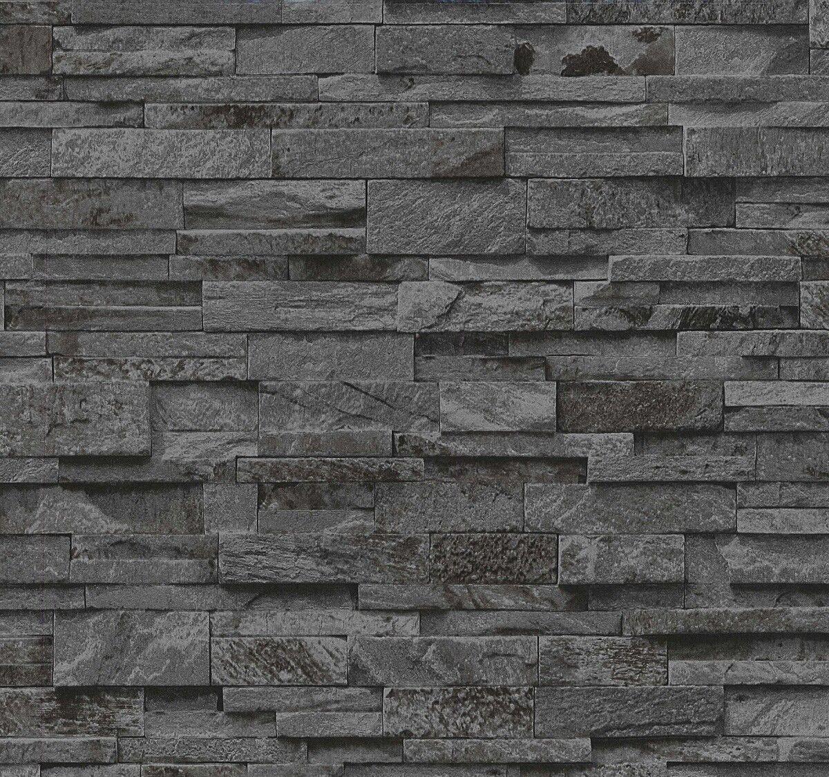 Vliestapete Stein Steine Mauer 3D Optik Schwarz Grau P+S 02363 40 (1