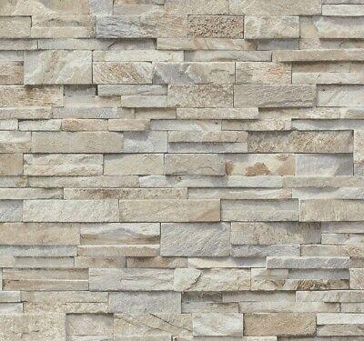 Vliestapete Stein Steine Mauer 3D Optik beige grau P+S 02363-10 (2,43€/1qm) Blatt Gemustert