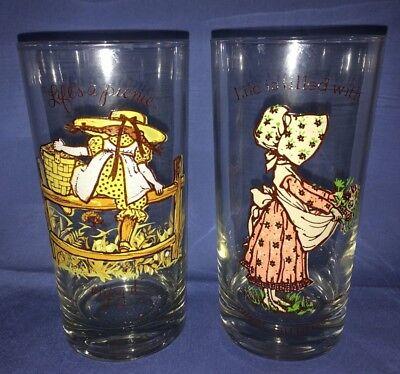 1969 & 1977 American Greetings Holly Hobbie Friends 12oz Drinking Glasses Lot 2