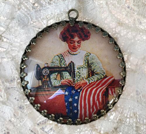 WOMAN SEWING AMERICAN FLAG ~ XL ROUND  35mm PENDANT Filigree VINTAGE PATRIOTIC