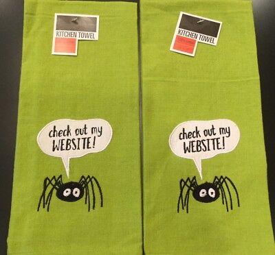 reen Black Spider Website Cotton Kitchen Dish Towel Cloth (Website Halloween)