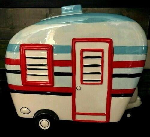 Super Cute Ceramic Camper Trailer Cookie Jar