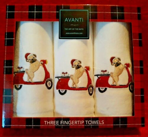 NEW Avanti Set of 3 Three Embellised Embroidered Fingertip Towels Pug on Scooter