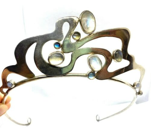 Stunning Antique Art Nouveau Silver & Moonstone Tiara 66  grams