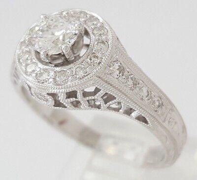 0.75 ct 18K White Gold Round Diamond Halo Engagement Ring GIA Rtl $2,700 6