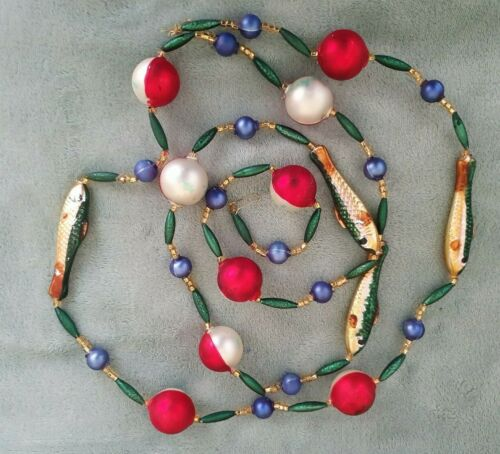 "VINTAGE GLASS CHRISTMAS GARLAND - MINNOWS AND FLOATS - 70"" LONG"