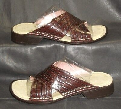 26f7ddc53e56 Donald J Pliner brown croc print leather open toe mules sandals Womens shoes  6 M
