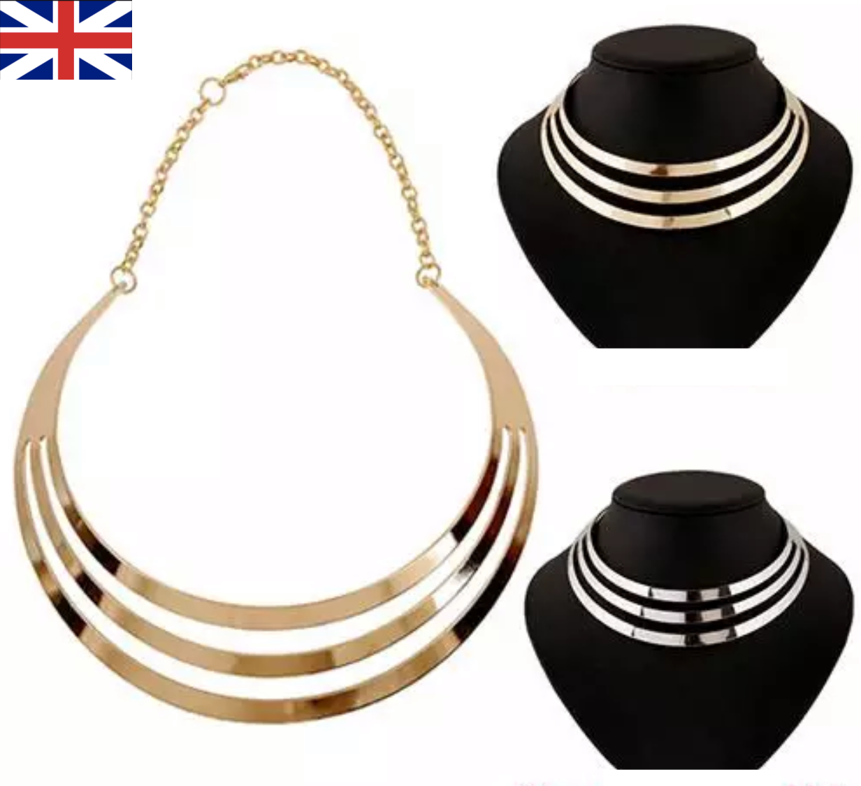 Jewellery - Fashion Jewellery GOLD SILVER Chain Choker Chunky Statement Bib Collar Necklace