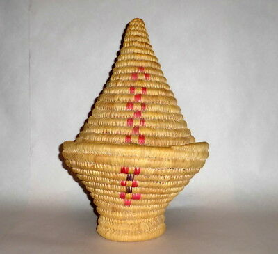 Vintage Africa Hand Woven Coiled Grass Tilted Basket Bowl w Pointed Cone -