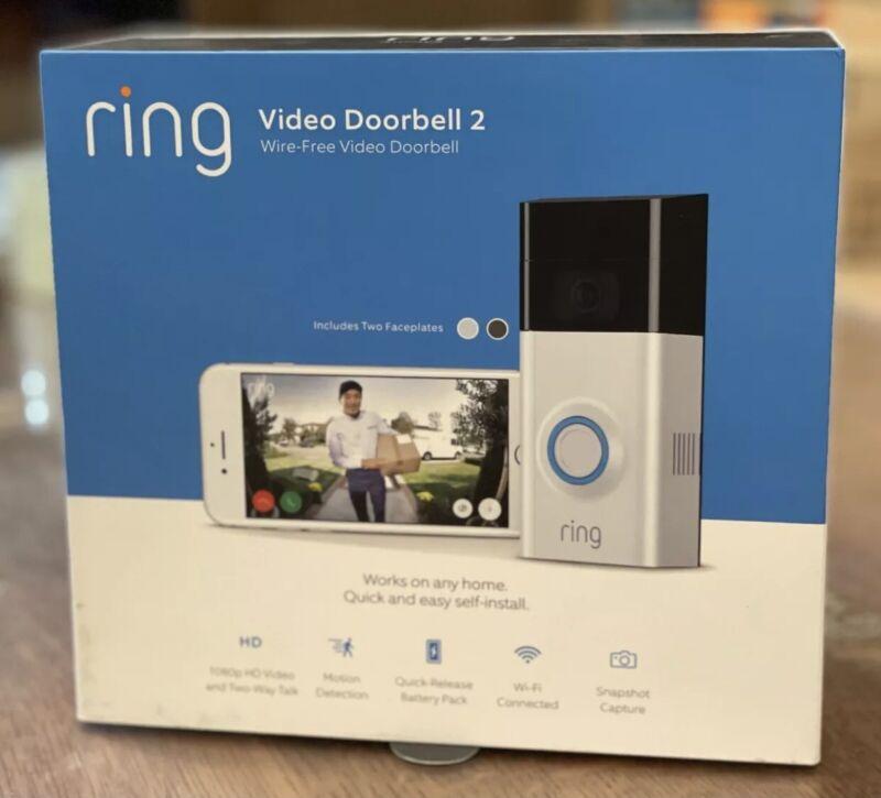 Ring Video Doorbell 2 Wireless - Battery & wired - 1080P - Satin Nickel & Bronze