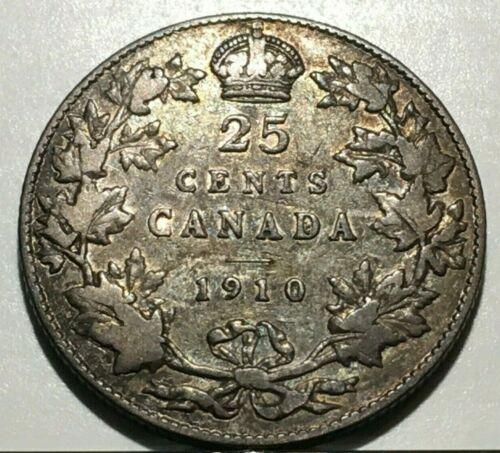 1910 CANADA 25 CENTS QUARTER SILVER COIN * FREE SHIP