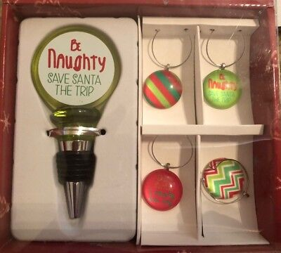 """Wine Bottle Stopper and 4 Wine Charms Christmas """"Be Naughty Save Santa The Trip"""""""