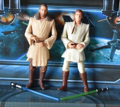 STAR WARS FIGURE 1999 PHANTOM MENACE COLLECTION QUI GON JINN OBI WAN KENOBI *!
