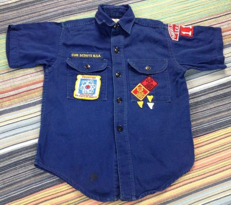 Vtg Boy Scout of America BSA Transatlantic Germany Frontier Wolf/Bear Shirt USA