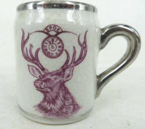 Philadelphia BPOE ELKS souvenir antique mini mug match strike bottom silver rim
