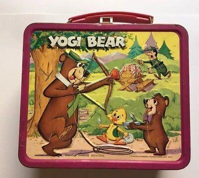 VINTAGE 1974 YOGI BEAR METAL LUNCHBOX BY ALADDIN INDUSTRIES