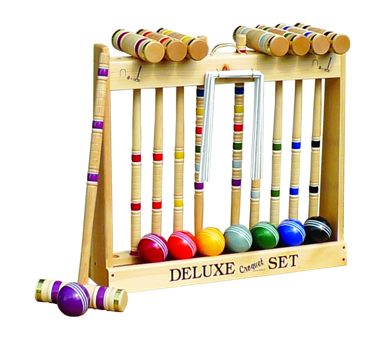 """8-Player Croquet Set with 32"""" Handles in Wooden Rack - Amish"""