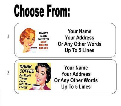 30 Coffee Retro Humor Personalized Address -