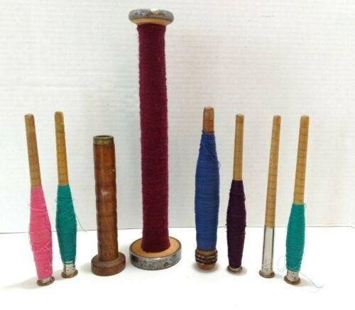 Vintage Wood Spools With Thread Yarn Spindle Textile Mill Industrial Bobbins 8