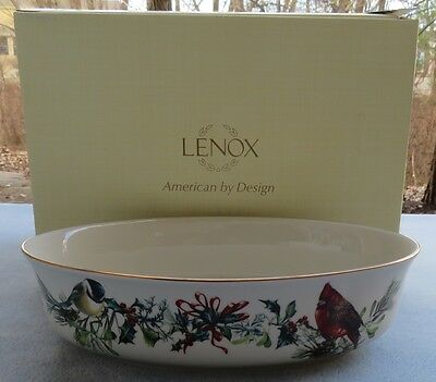 Lenox Winter Greetings Fine China Oval Vegetable Serving Bowl USA NEW in BOX