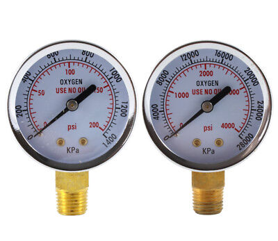 Low And High Pressure Gauges For Oxygen Regulator - 2 Inches - 14 Npt Pair