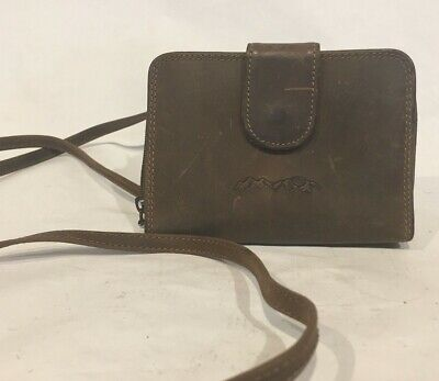 TELLURIDE Samsonite Full Grain LEATHER Wallet COIN Purse SHOULDER Strap 3.5x5x27