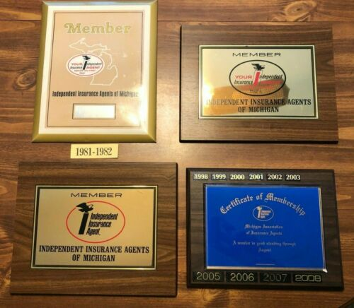 Independent Insurance Agents of Michigan - Lot of (4) Membership Plaques
