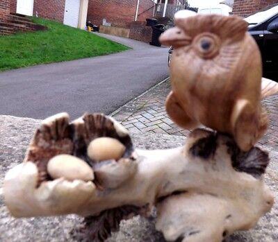 Fair Trade Hand Carved Made Wooden Parasite Bird Owl Nest Ornament