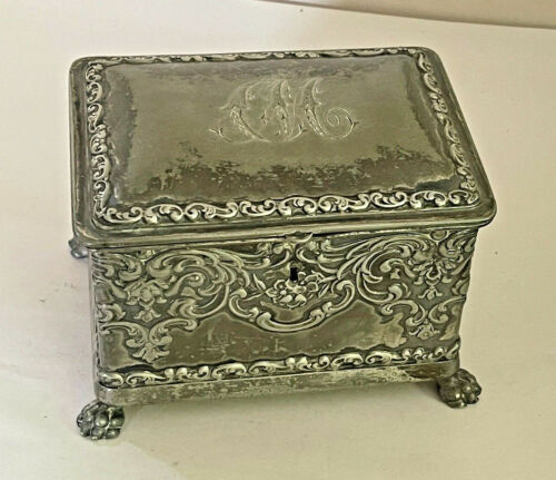 Antique Wilcox Silverplate Co. Silverplated Repousse Jewelry Box Victorian