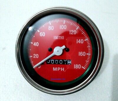 Clockwise Speedometer 85 Mm Mechanical M18x1.5 Thread 180 Mph Red Face Me