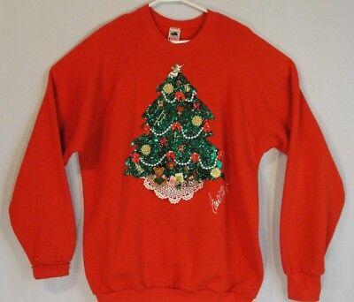 Ugly Christmas Decorations (Ugly Christmas Sweater Sweatshirt  Vtg 90s Christmas Tree Decorations  XL)