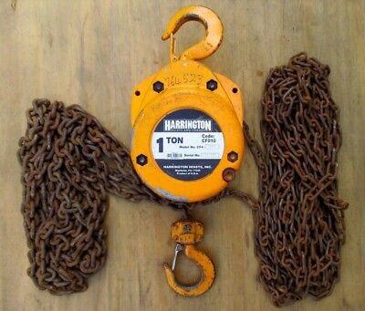 Harrington 1 Ton Chain Hoist 20 Ft. Lift Cf010-20 Load Tested Cf-010 Usa