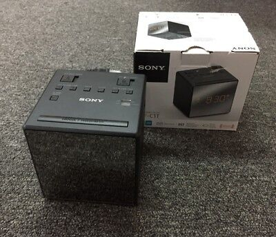 Sony ICF-C1T Desktop Alarm Clock AM FM Radio Black Automatic Set Up - NEW - READ