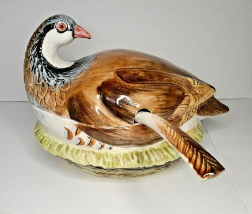 Pheasant Soup Tureen Covered Huge Bird Vintage Pottery Hand Painted Italy Neiman