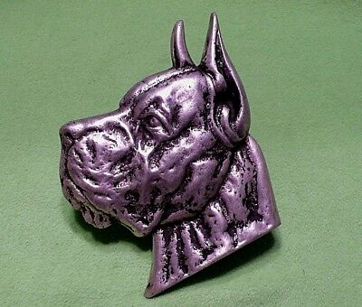 Vintage CAST METAL profile of a BOXER dog. Deep raised relief. Original paint.